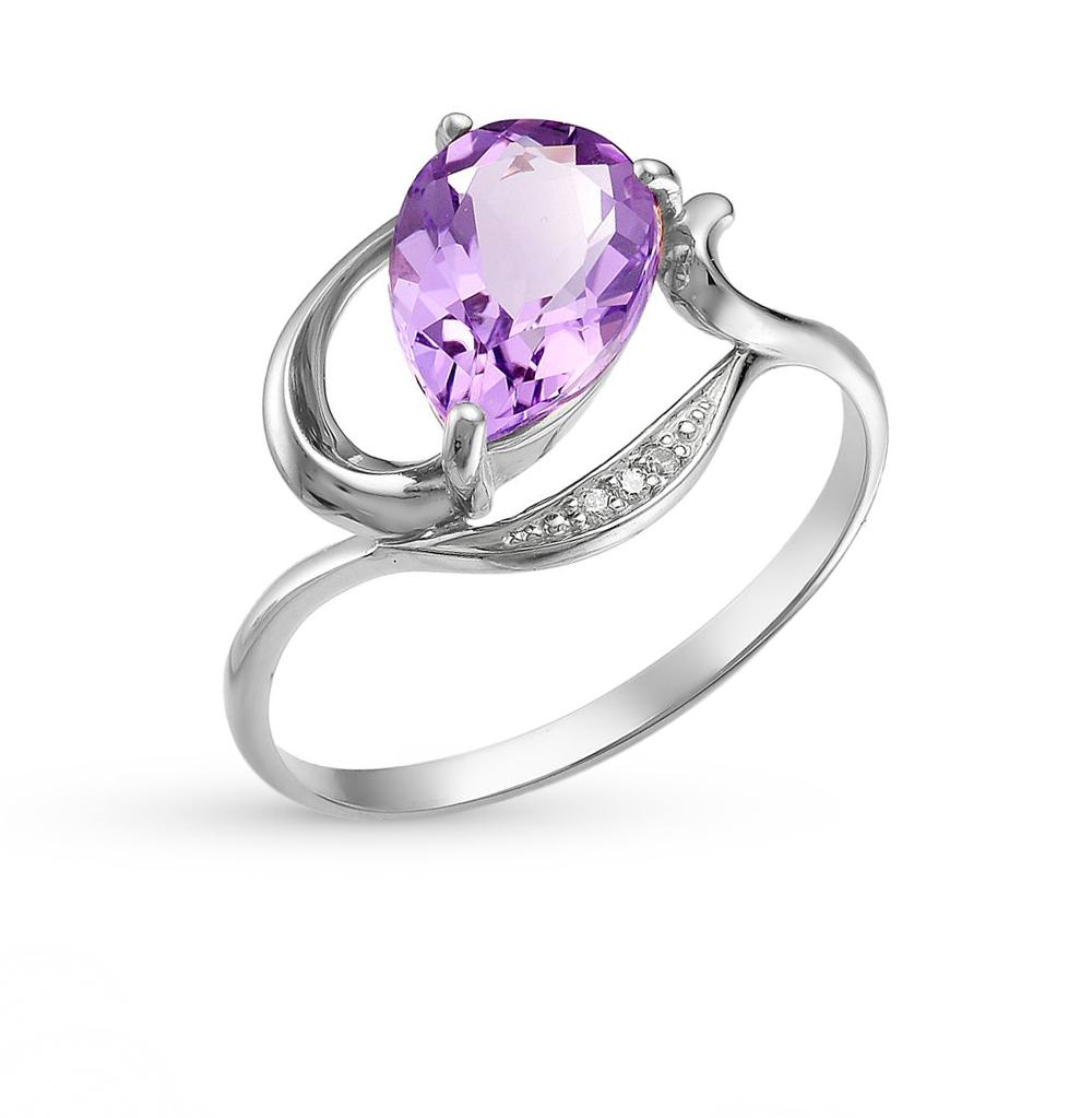 Фото «серебряное кольцо с аметистами и фианитами»