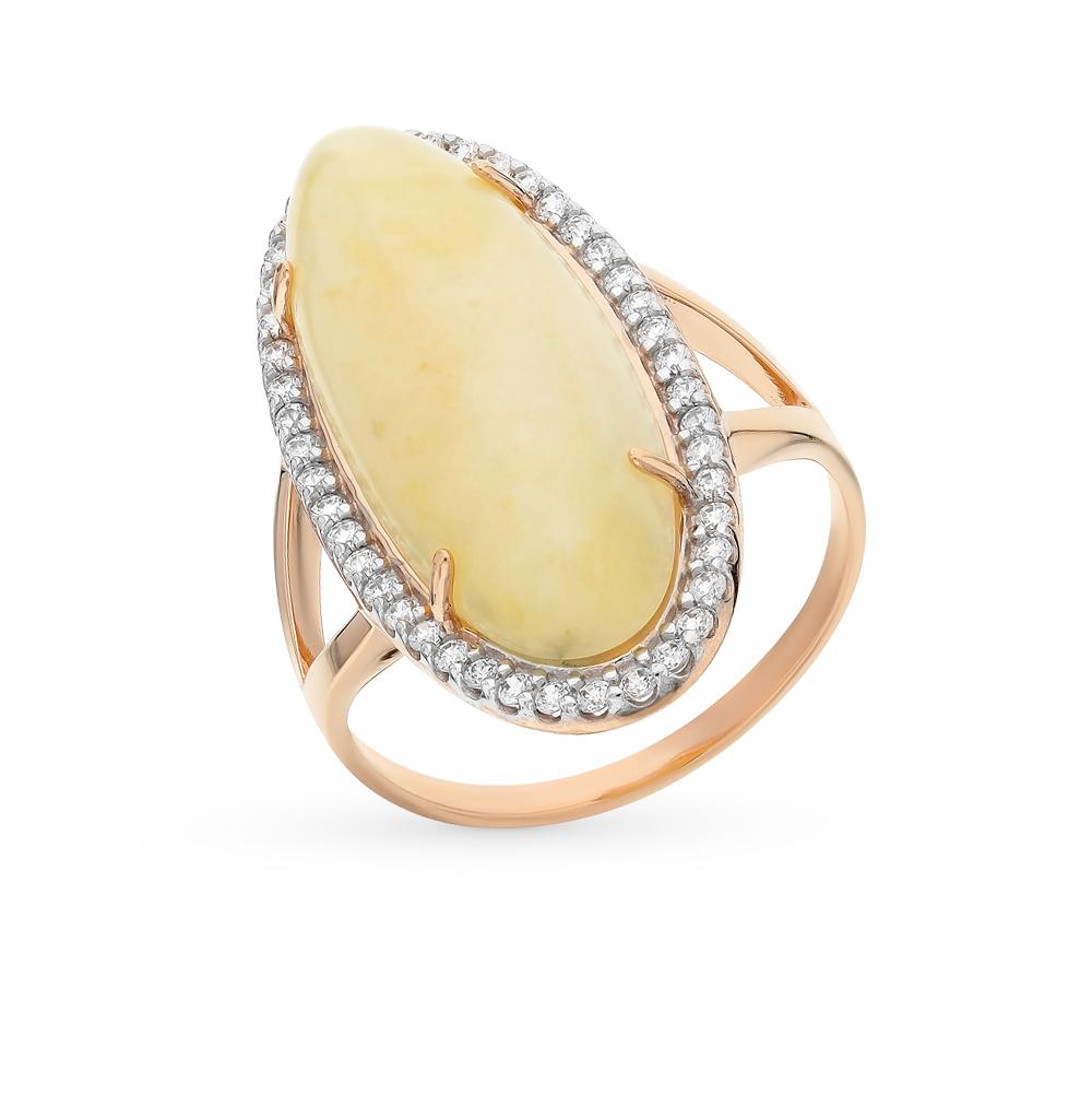 Фото «золотое кольцо с янтарем и фианитами»
