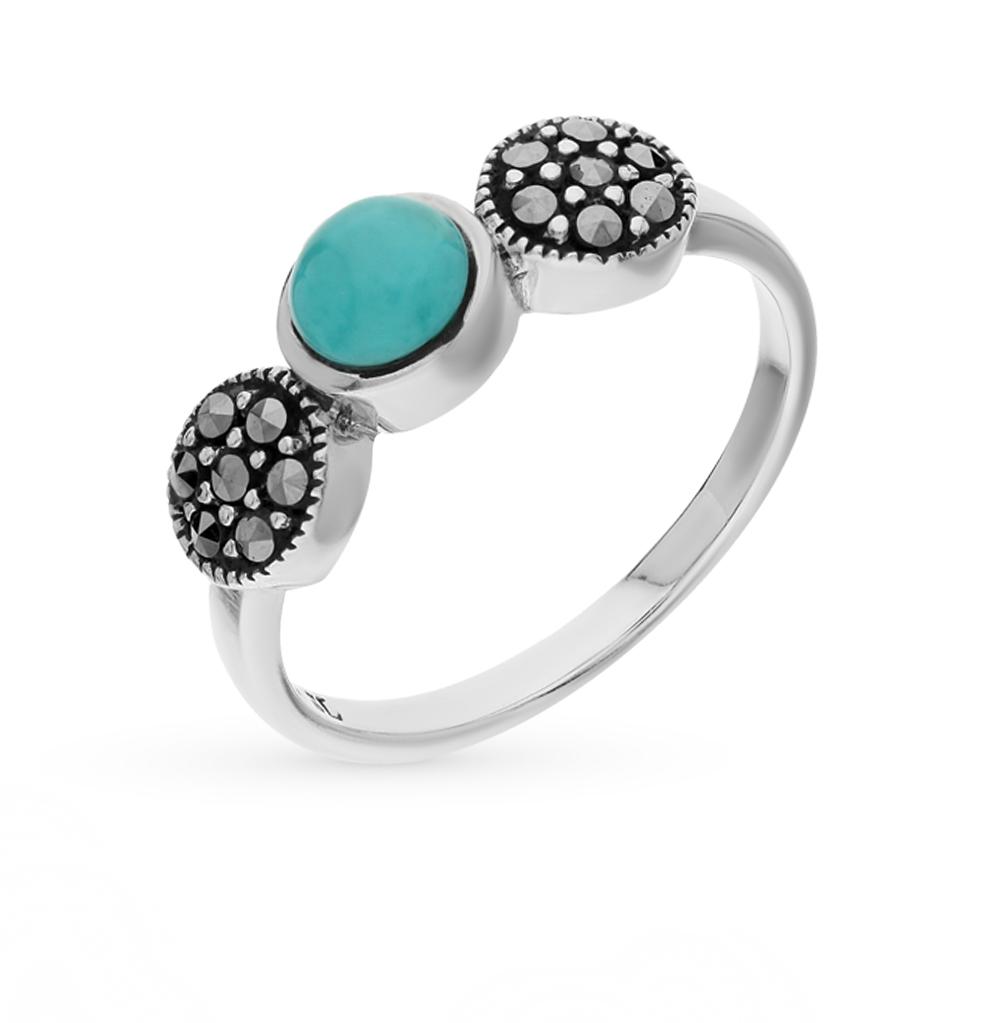 Фото «серебряное кольцо с марказитами, бирюзой и фианитами»