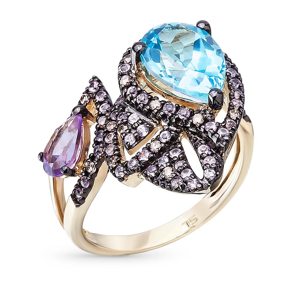 Фото «золотое кольцо с аметистом, топазами, сапфирами и бриллиантами»