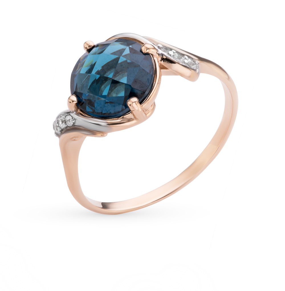 Фото «золотое кольцо с фианитами и кварцами синтетическими»