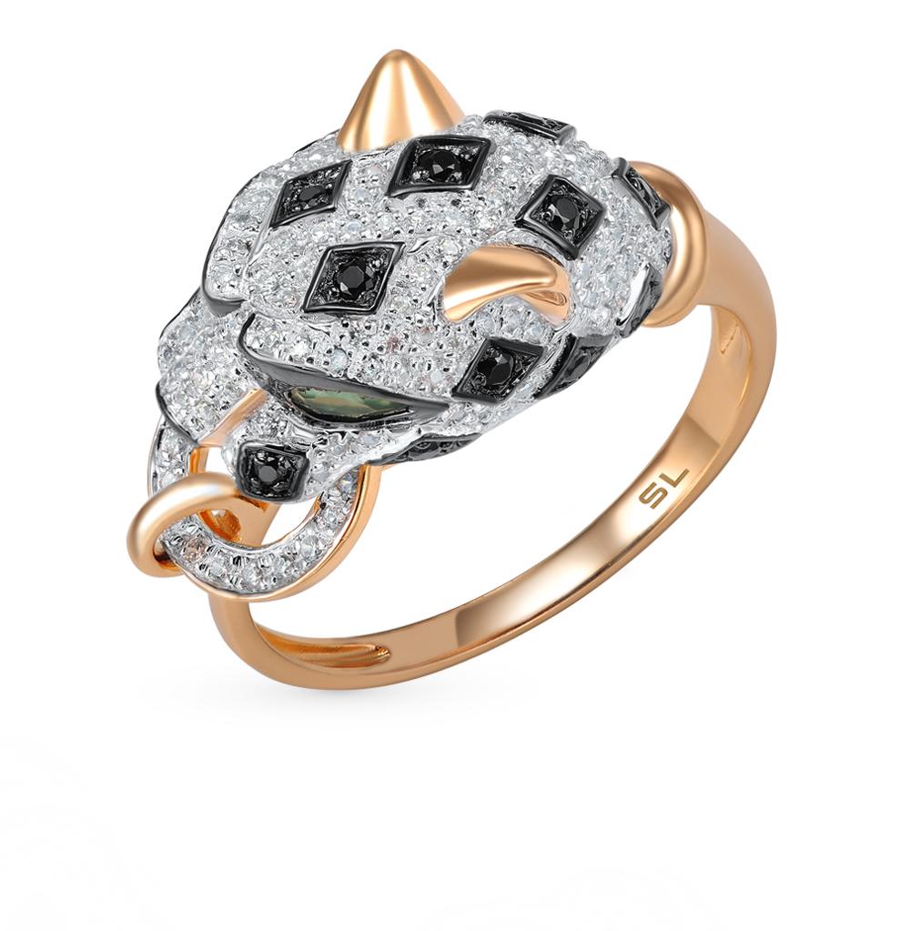 Фото «золотое кольцо с чёрными бриллиантами, со шпинелью, агатом и бриллиантами»