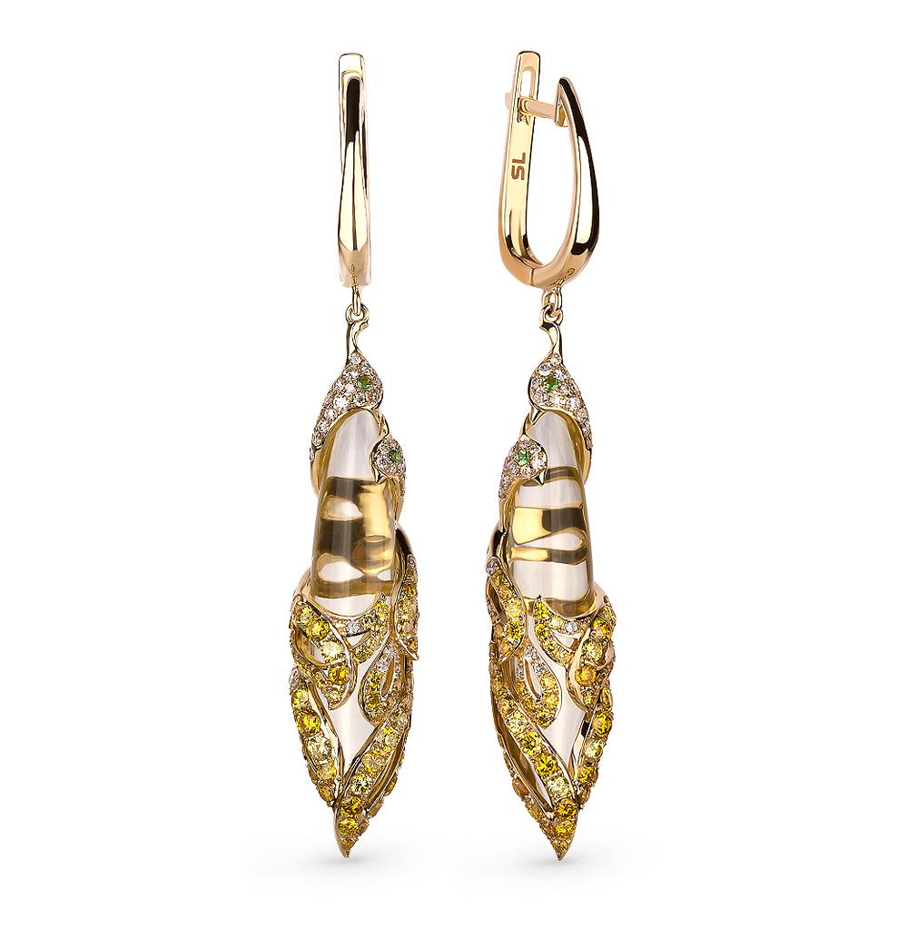 Фото «золотые серьги с цаворитами, кварцем и бриллиантами»